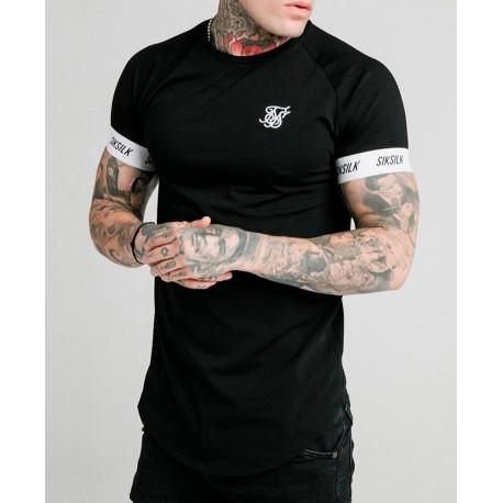 Camiseta SIKSILK Curved Hem Tee Blk/Gold