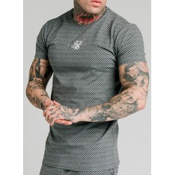 Camiseta SIKSILK Smart Gym Tee – Black & White Dogtooth