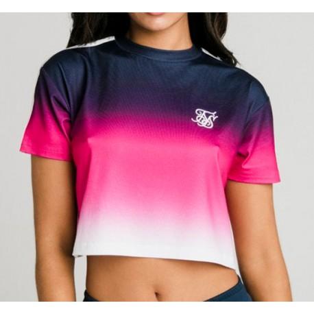 Camiseta SIKSILK Fade Tape Crop Tee - Navy, Pink & White