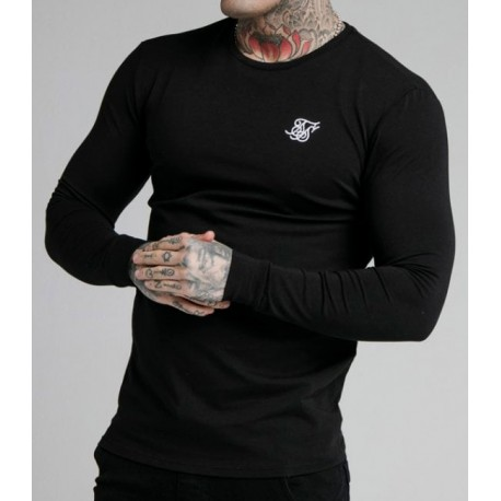 Camiseta SIKSILK Straight Hem Gym Tee Black