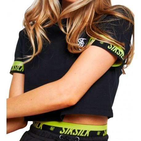 Camiseta SIKSILK Divergent Crop Black